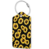 Sunflower Floral Luggage Tags,PU Leather Privacy Cover ID Label with Stainless Steel Loop and Address Card for Travel Baggage Bag Suitcase (1pcs)