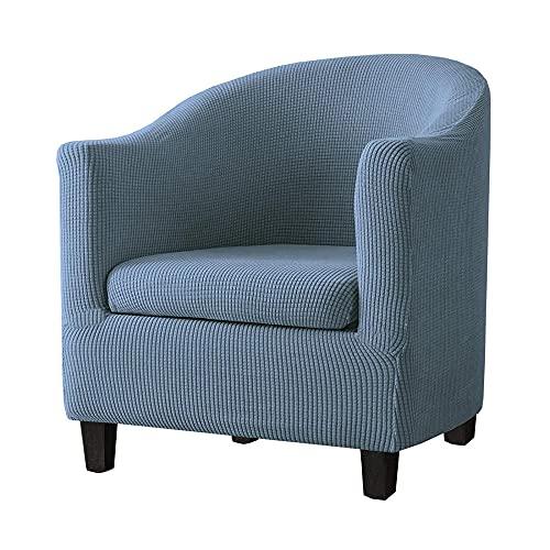 Torlia 2 Piezas Funda de Sillón Chesterfield Elásticas,2 Piezas Cubre Sofá Chester,Fundas De Silla De Bañera Antideslizantes Cubierta Protector de Muebles,Lavable-Polvo Azul