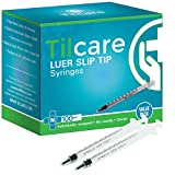 1ml Syringe Without Needle Luer Slip 100 Pack by Tilcare - Sterile Plastic Medicine Droppers for Children, Pets or Adults  Latex-Free Oral Medication Dispenser - Syringes for Glue and Epoxy