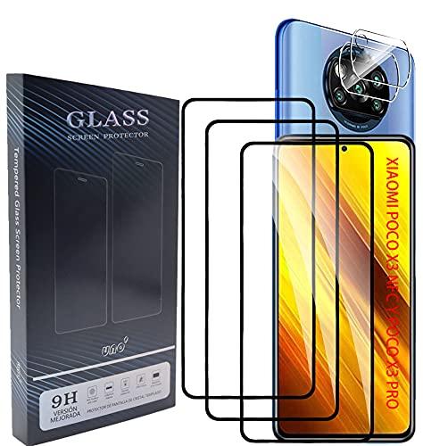 UNO' Protector De Pantalla 3 + 2 Protector De Cámara, Protector Pantalla Cristal Templado Compatible Xiaomi Poco X3 Nfc/poco X3 Pro, Vidrio Templado Ultra Resistent Sin Burbujas, 9h, Antiarañazos.