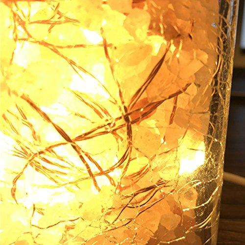 WYDM Kreative LED Nachtlicht Nachttischlampe Nordic Persönlichkeit Eis Split Glas Lampe Warme Schlafzimmer Dekoration Atmosphäre Salz Lampe
