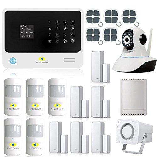Golden Security Pantalla táctil con teclado LCD WIFI y GSM 2 en 1 + cámara IP de 360 grados con dial automático, detectores de movimiento y más sistema de alarma para el hogar DIY G90B00