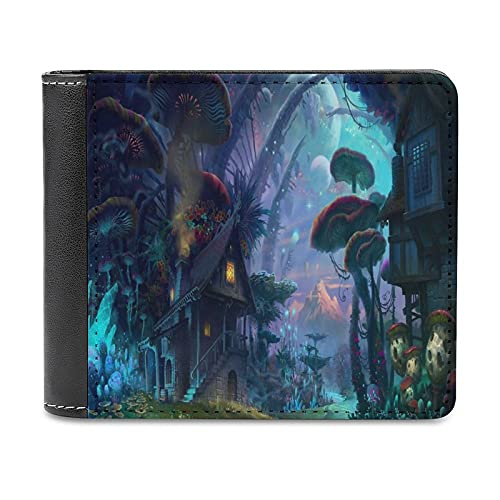 Art Fantasy Poster enorme seta vista nocturna cuero pu cartera embrague, puede acomodar tarjetas de crédito, efectivo, etc. DIY monedero personalizado, moda tarjeta de crédito caso