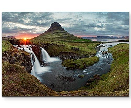 Paul Sinus Art Leinwandbilder | Bilder Leinwand 120x80cm isländischer Wasserfall im Frühling