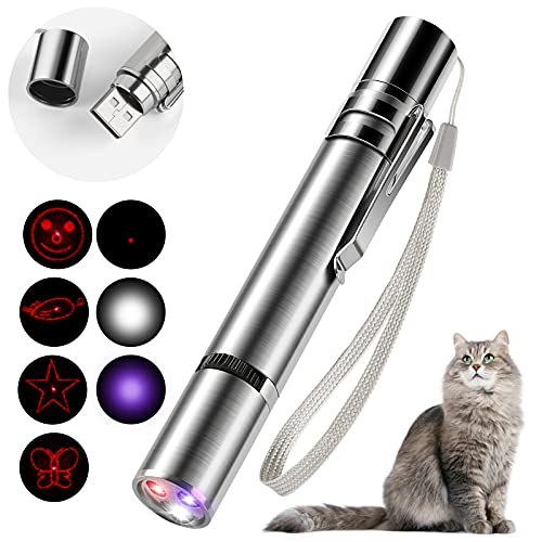 HezzLuv Led Pointer Für Katzen Hund Spielzeug Haustier Led Light Licht Pointer Mit USB Wiederaufladbar, Interaktives Spielzeug Für Hauskatzen Und Hunde, Kätzchenspielzeug, 5 Muster