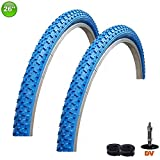 2 x maxxi4you Fahrradreifen Mantel Decke 26 x 1,75-47-559 Blau + 2 Schläuche DV