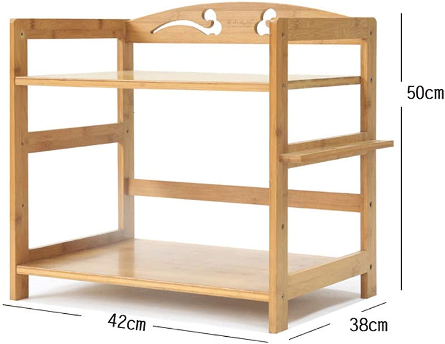 CCF Shelf Microwave Oven Shelf Kitchen Floor Stand Bamboo Wood Shelf Storage Shelf CCFSF (Size   42  35  50CM (Double Layer))