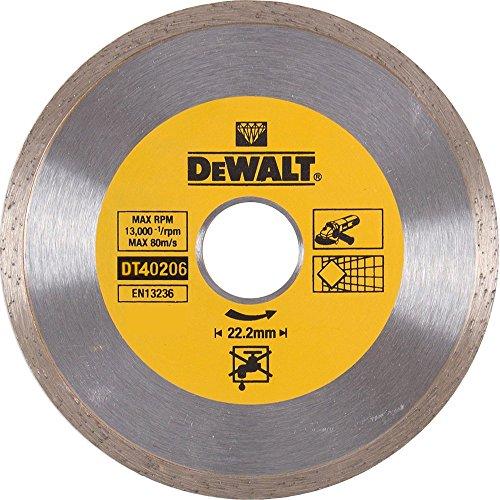 Dewalt DT40206-QZ DT40206-QZ-Disco de Diamante para Corte en seco con Borde Continuo 180mm x 22.2mm para cerámica, 0 W, 0 V