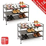 Seville Classics 3-Tier Stackable 9-Pair Woodgrain Resin Slat Shelf Sturdy Metal Frame Shoe Storage Rack Organizer (2-Pack), Perfect for Bedroom, Closet, Entryway, Dorm Room, Espresso, (Renewed)