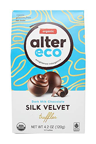 Alter Eco | Silk Velvet Truffles | 39% Pure Dark Cocoa, Organic Dark Chocolate Truffles with Recipe Guide, 10 Truffle Bag (Ships with Cold Packs)