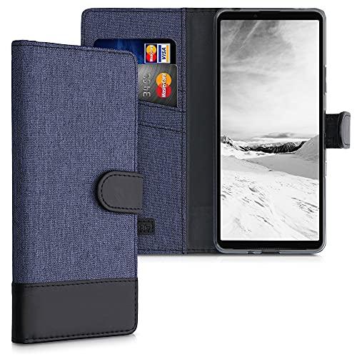 kwmobile Wallet Hülle kompatibel mit Sony Xperia 10 III - Hülle mit Ständer - Handyhülle Kartenfächer Dunkelblau Schwarz