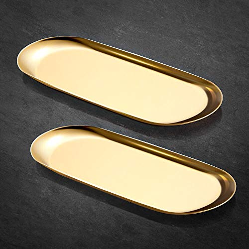 ecooe Extra Groß Tablett Gold Platte Edelstahl Kosmetik Organizer Kleine Gegenstände Tablett - 2 Stück (30cm), Dekoteller für Schmuck Kosmetik Kerzen Dessert
