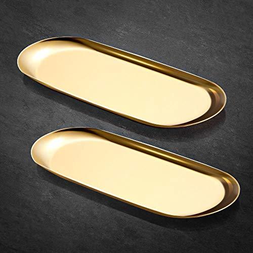ecooe Extra Groß 30 x 12 cm Tablett Gold Platte Edelstahl Kosmetik Organizer Kleine Gegenstände Tablett - 2 Stück, Dekoteller für Schmuck Kosmetik Kerzen Dessert