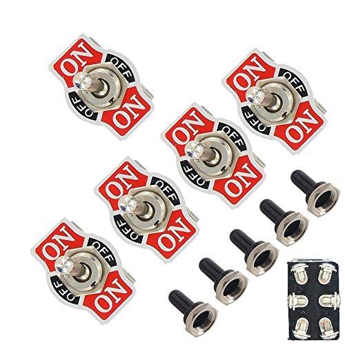 Mintice 5 X Interrupteur Inverseur à Bascule Levier en Métal on/Off/on 6 Terminal Pin DPDT Poids Lourd 20A 125V 15A 250V Voiture Moto Bouton Casquette