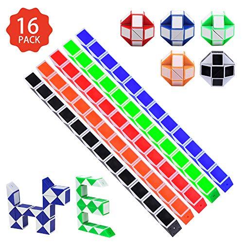 16 Stücke 24 Blöcke Puzzle Würfel,Magische Geschwindigkeit Würfel,Mini Magische Schlange Würfel 3D IQ Spielzeug für Kinder Party Tasche Füllstoff Party Favors Party Supplies (Zufällige Farbe)