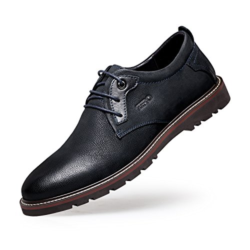 ZRO Men's Leather Round Toe Work Shoes Casual Lace Up Oxford BLUE US 10