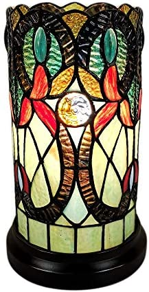 Amora Lighting Tiffany Style Accent Lamp 10 Tall Stained Glass White Yellow Vines Floral Vintage product image