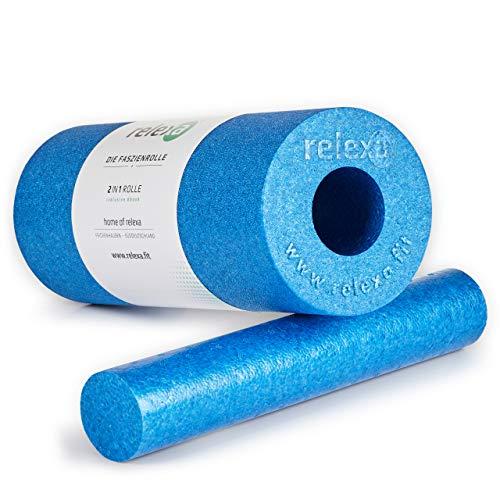 relexa 2in1 Faszienrolle, 2-teiliges Selbstmassagegerät mit herausnehmbarem Kern, mittlere Härte, Ganzkörper Foam Roller, inkl. Faszien-eBook, 35 x 14 cm (L x Ø), in Blau