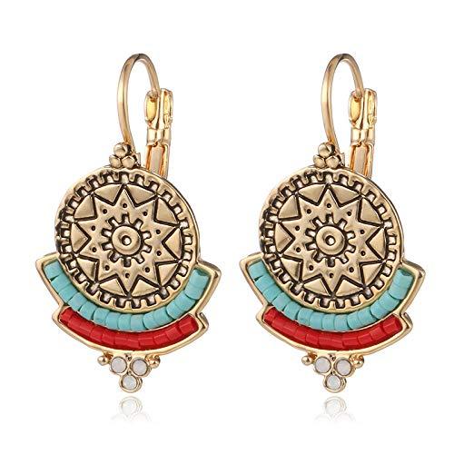 XCWXM Vintage Retro Round Drop Earrings Rojo Negro Azul Resina Cuentas Pendiente para Mujeres-Oro