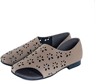 YNXZ-SHOE Female Sandals Fish Mouth Type Cowhide Flat Shoes, Retro Comfort Hollow Polishing Rubber, Light Brown, 35-40 Yards (Color : Light Brown, Size : 39)