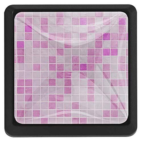 Quadratische Griffe für Schränke, Schubladengriffe, Kunststoff, Wabengitter, Rosa Gitterwand, 37x25x17mm/1.45x0.98x0.66in