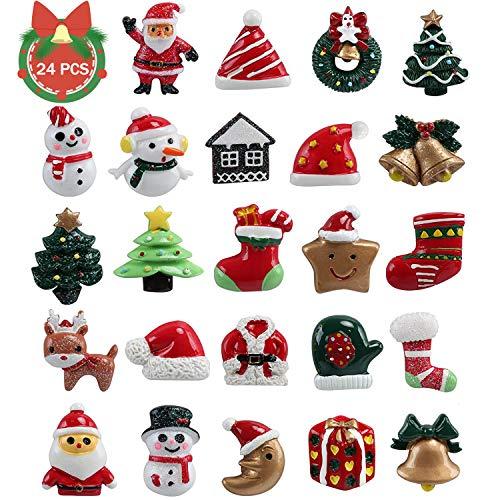 TATAFUN 24 Pz di Mini Decorazione Natalizia Resina Natale Abbellimenti DIY Artigianato di Natale Babbo Natale, Albero di Natale, Pupazzo di Neve, Decorazioni di Regalo, Calzini Natalizi