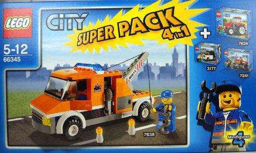 Lego Super Value Pack 4in1 City # bestehend aus Lego 7634 Traktor, 7241 Feuerwehrhauptmann, 7638 Abschleppwagen und 3177 Stadtflitzer