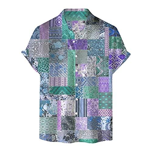 Sannysis Sommer Hemd Herren T-Shirt Kurzarm Hawaiihemd Holiday Shirt Top Vintage Polo Freizeithemd T-Shirts Regular Fit Hawaii Hemd Männer Casual knöpft Druck-Hemd Bluse Hawaiianisches Druckhemd