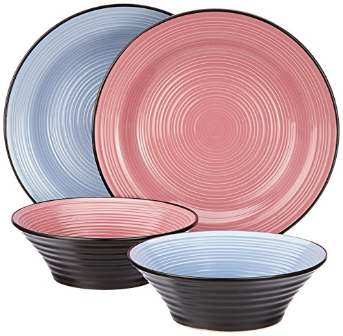 Deagourmet Nero&Colore Piatti, Ceramica, Rosa/Azzurro