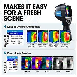 TOPDON Wärmebildkamera Infrarotkamera 220 x 160 Pixel Auflösung mit 300.000 Messpunkte –20 °C bis +450 °C(-4°F bis +842°F) Genauigkeit von ±2 °C Thermische Empfindlichkeit 0.07 °C aufladbar Akku ink.