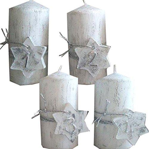 ilonas-lichtermeer Weihnachten Zahlen 1234 Kerzenset 4 Stück Stumpenkerzen Adventskerzen 100x50 Dekokerzen Kerzen mit Stern für Adventskranz Weiss grau Silber IW17