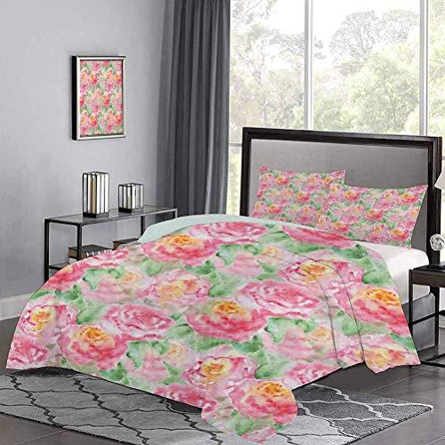 Juego de Colcha de Composición de Flor de Rosa con Hojas en Colores Suaves Arte de Plantas florecientes Funda de edredón hipoalergénico El Color se ha mantenido después de Algunos Lavados Rosa Verde