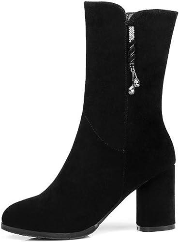 Willsky Botines para mujer, botas de tacón Martin botas de Invierno Casual Botines de Cuero negro con Cremallera Lateral en Punta,Thinlining,34