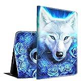iPad Mini 1/2/3 Case, Spsun Lightweight PU Leather Folio Adjustable Stand with Auto Wake/Sleep Smart Protect Case for Apple iPad Mini 1/Mini 2/Mini 3 7.9 inch - White Wolf with Rose