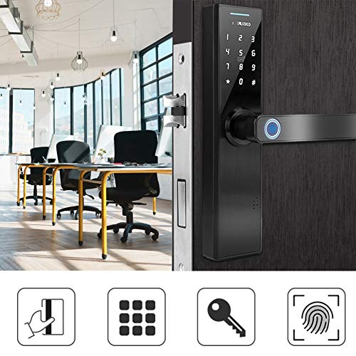 Intelligent deurslot, wachtwoord voor vingerafdrukken, elektronisch, intelligent, biometrisch, diefstalbeveiliging, dubbele lus, touchscreen, veiligheid met sleutel., #2