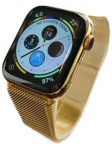 Custom 24K Gold Plated 44MM iWatch Series 4 with Gold Milanese Loop Band LTE+GPS US and Canada Version