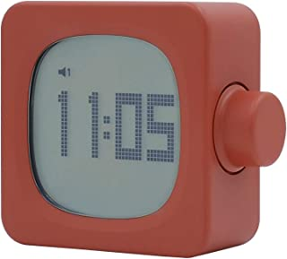MUID Digital Alarm Clock, Electronic LED Time Display,Date Display, 2 Alarm Settings,Snooze Function,Night Light,USB Charging, Battery Backup,Electric Clocks for Bedroom, Bedside (Brick red)