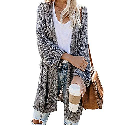 BIXUYAO tröja/damkläder cardigan överdimensionerade vinterkläder jackor långa hösttoppar lämpliga för fritidspromenader, grå, S