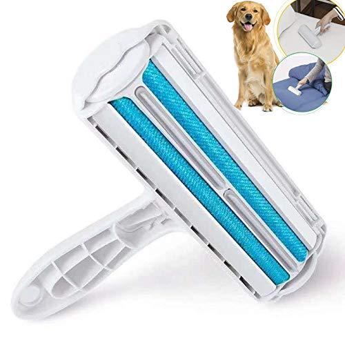JYHY Husdjurspäls och luddborttagare med självrengörande bas dubbelsidig borste tar bort hund- och katthår från kläder/möbler/sängar/matta (blå-ny)