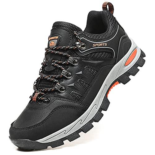 Topwolve Zapatillas de Senderismo para Hombre Zapatillas de Trekking Botas de Montaña Antideslizantes Al Aire Libre Zapatos de Deporte,Negro,44 EU