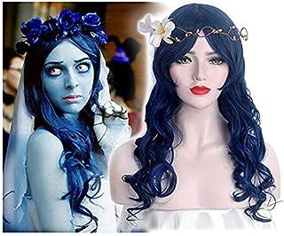 STfantasy Pelucas Mujer pelo Natural largo ondulado azul oscuro con flecos Para Uso Diario cosplay Halloween fiesta disfraz Crossdress