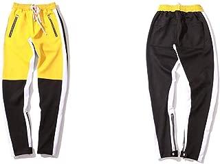 Men's Vintage Color Block Patchwork Sweat Hip Hop Side Zipper Pants