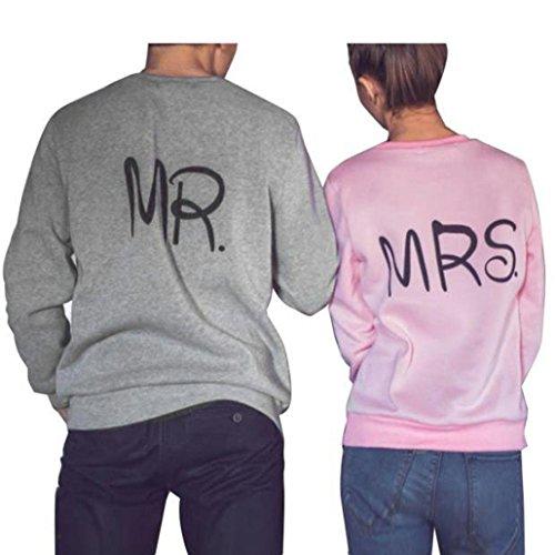 Paar Sweatshirt, Dasongff Männer Grau MR und Frauen Pink MRS Brief Drucken T-Shirt Top Bluse Langarm Sweatshirt Tops (M, Grau)