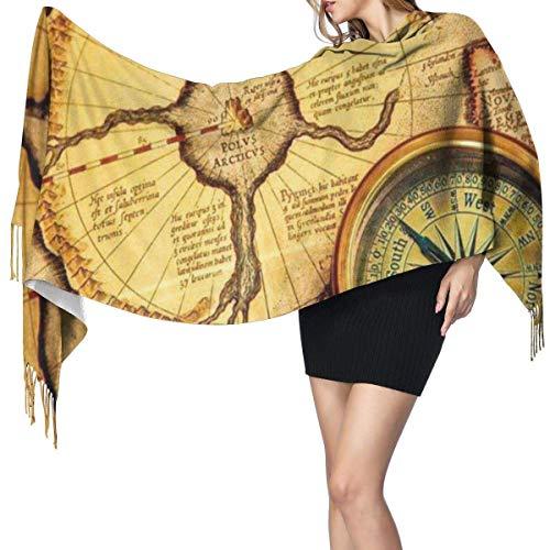Pirata marinero mapas náuticos brújula moda mujer chal largo tucán pájaros piña arte cachemir bufanda invierno cálido