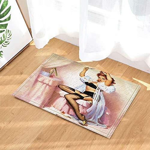 Sexy blonde die zwarte lingerie Kinderbadkamer tapijt toiletdeur mat woonkamer 40X60CM badkameraccessoires draagt