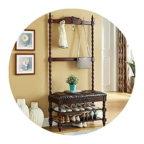 XINGLL Percheros Pie Perchero, Muebles Banco, Ideal para Pasillo Dormitorio Entrada Oficina, Ropa Sombrero Zapato Bolso Paraguas Almacenamiento, 3 Colores
