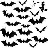 JIASHA 96 Pegatinas de murciélagos en 3D para Halloween, murciélagos, murciélagos, murciélagos, Pegatinas de murciélagos de Pared para decoración de Ventanas de Halloween