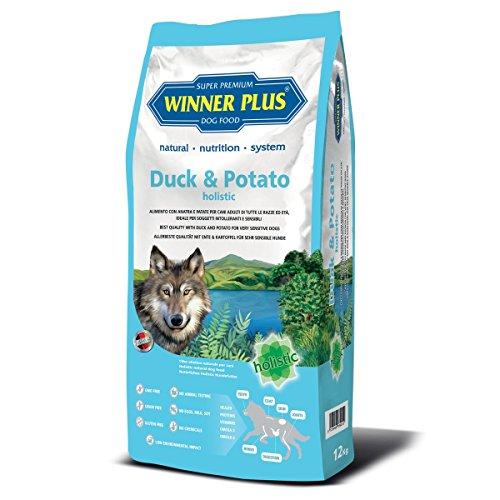 WINNER PLUS Duck & Potato holistic con erbe officinali e frutti rossi 2 kg - Alimento completo senza glutine e grano, facilmente digeribile, per cani sensibili o con allergie