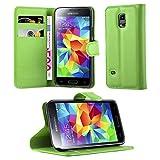 Cadorabo Hülle für Samsung Galaxy S5 Mini / S5 Mini DUOS in MINZ GRÜN - Handyhülle mit Magnetverschluss, Standfunktion & Kartenfach - Hülle Cover Schutzhülle Etui Tasche Book Klapp Style