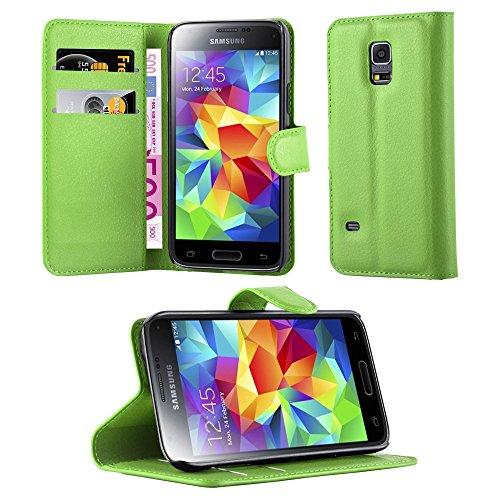 Cadorabo Custodia Libro per Samsung Galaxy S5 Mini / S5 Mini DUOS in Verde Menta - con Vani di Carte, Funzione Stand e Chiusura Magnetica - Portafoglio Cover Case Wallet Book Etui Protezione